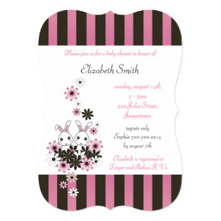 """Cute Twin Bunnies Pink and Black Girl Baby Shower 5"""" X 7"""" Invitation Card"""