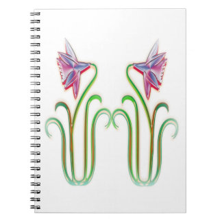 Cute Twin Flowers Illustration Art on 100 gifts Notebooks