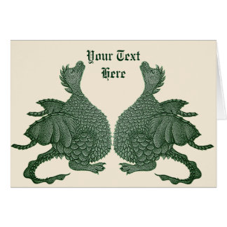 cute twin green dragon mythical fantasy creature card