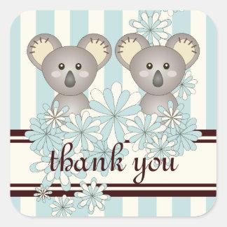 Cute Twin Koala Pastel Blue Striped Thank You Square Sticker