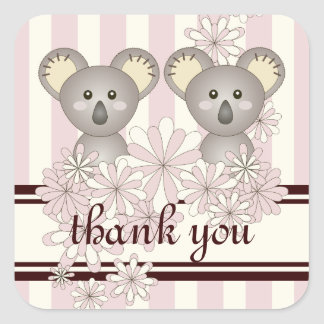 Cute Twin Koala Pastel Pink Striped Thank You Square Sticker