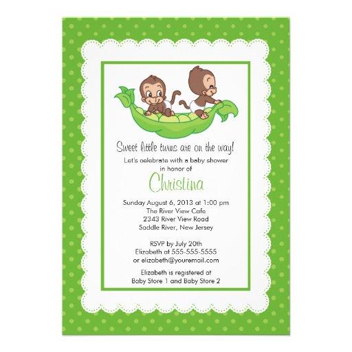 Cute Twin Monkeys Pea Pod Baby Shower Invitations