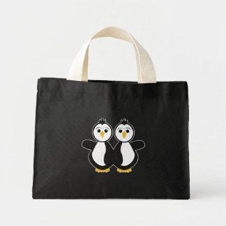 Cute Twin Penguins Tote Bags