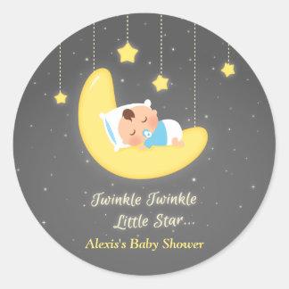 Cute Twinkle Twinkle Little Star Baby Shower Round Sticker