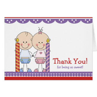 Cute Twins 1st Birthday Thank You Note Card