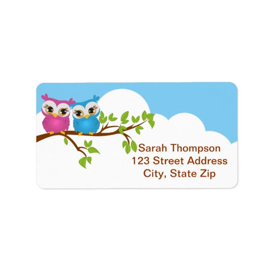 Cute Twins Owls on a Branch Address Label