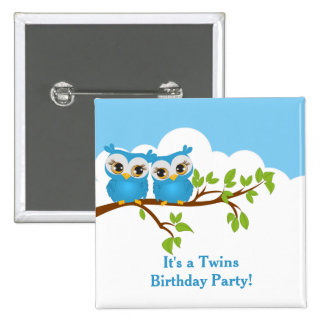 Cute Twins Owls on Branch Boys Birthday Button Pin
