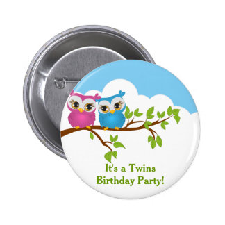 Cute Twins Owls on Branch Girl Boy Birthday Button Buttons
