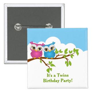 Cute Twins Owls on Branch GirlBoy Birthday Button Pin