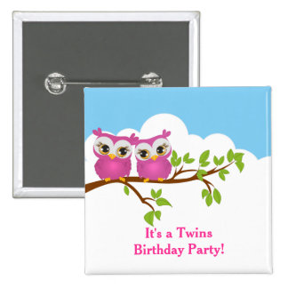 Cute Twins Owls on Branch Girls Birthday Button Pins