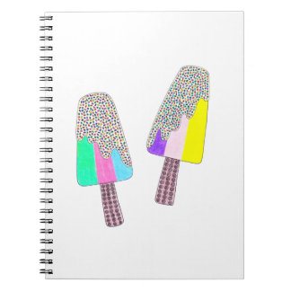 Cute Two Colorful Popsicles Spiral Notebook