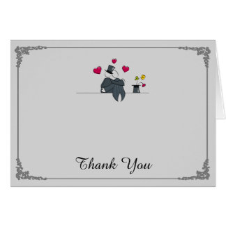 Cute Two Grooms Cartoon Gay Wedding Thank You Card