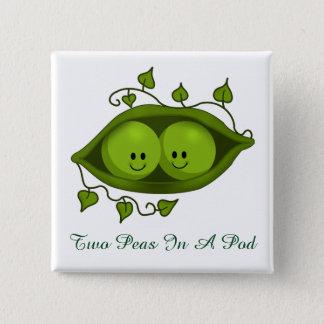 Cute Two Peas In A Pod 15 Cm Square Badge