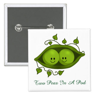 Cute Two Peas In A Pod 15 Cm Square Badge