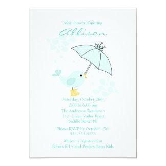 Cute Umbrella & Blue Bird Boy Baby Shower Personalized Invitations