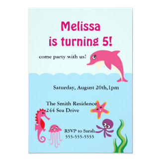 Cute Under the Sea Dolphin Birthday Party Invite