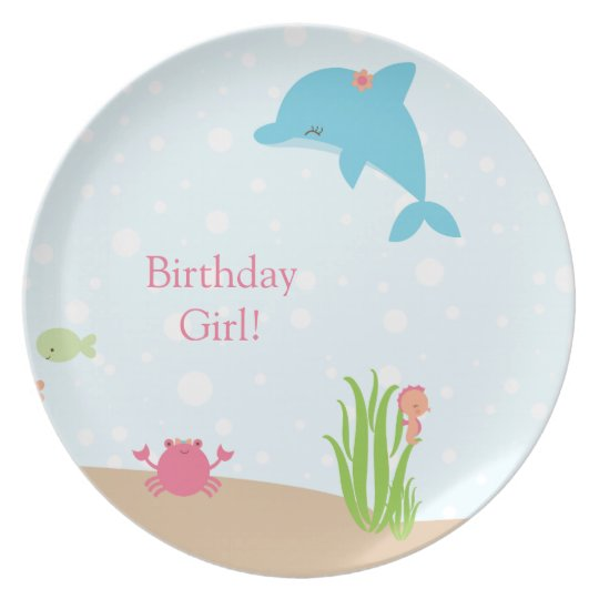 Cute under the Sea girls personalised plate