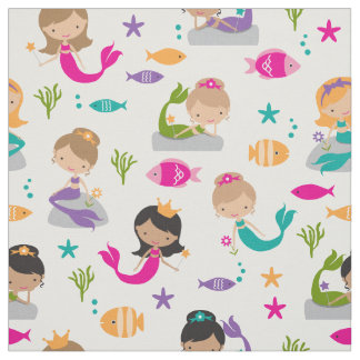Cute Under the Sea Mermaid and Fish Fabric