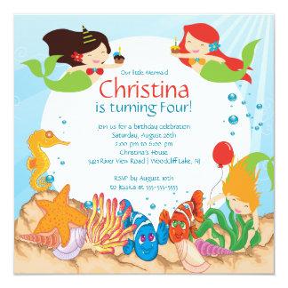 """Cute Under The Sea Mermaid Birthday Invitation 5.25"""" Square Invitation Card"""