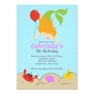"Cute Under the Sea Mermaid Birthday Party 5"" X 7"" Invitation Card"