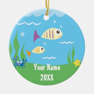Cute Under The Sea Ocean Aquarium Add Your Name Ceramic Ornament