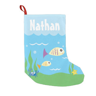 Cute Under The Sea Ocean Aquarium Add Your Name Small Christmas Stocking