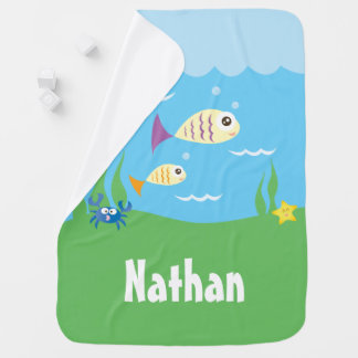 Cute Under The Sea Ocean Fish Starfish And Crab Baby Blanket