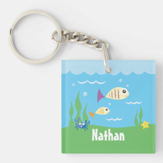 Cute Under The Sea Ocean Fish Starfish And Crab Double-Sided Square Acrylic Key Ring