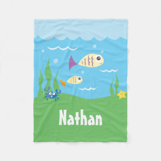 Cute Under The Sea Ocean Fish Starfish And Crab Fleece Blanket