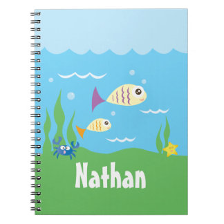 Cute Under The Sea Ocean Fish Starfish And Crab Notebooks