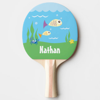 Cute Under The Sea Ocean Fish Starfish And Crab Ping Pong Paddle