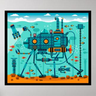 Cute Underwater Robot Scene Poster
