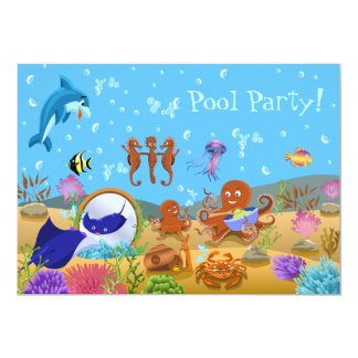 Cute Underwater World Pool Party Card