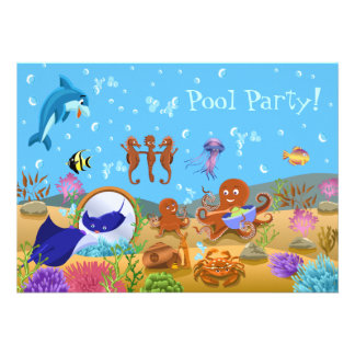 Cute Underwater World Pool Party Personalized Invitation