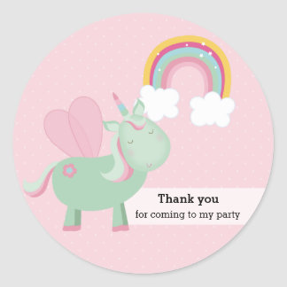 Cute Unicorn * Choose your background color Classic Round Sticker