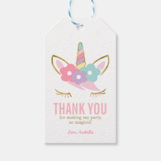 Cute Unicorn Face Girl's Birthday Gift Tags