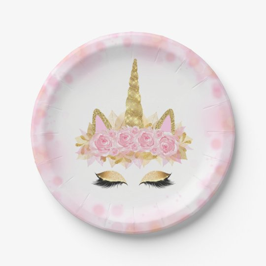 cute unicorn face pink gold paper plates. Black Bedroom Furniture Sets. Home Design Ideas