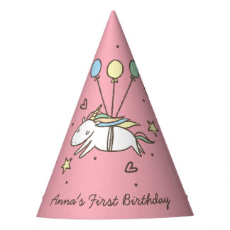 Cute Unicorn Flying on Balloons Birthday Party Hat