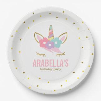 Cute Unicorn Girls Birthday Party Paper Plate