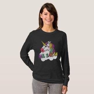 Cute Unicorn Hail Satan Pagan Pentacle T-Shirt