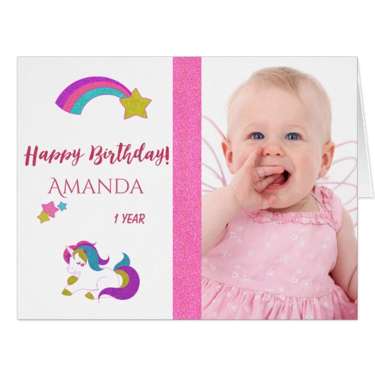 Cute unicorn happy 1st magical birthday with photo card