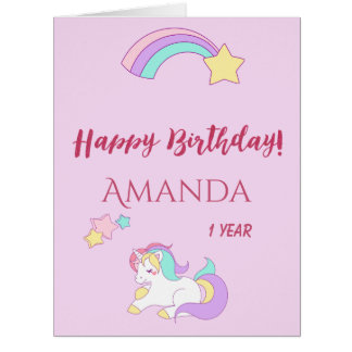 Cute unicorn happy magical 1st birthday pink card