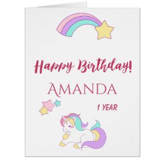 Cute unicorn happy magical 1st birthday white card