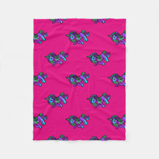 Cute Unicorn in Purple Turquoise Green Fleece Blanket