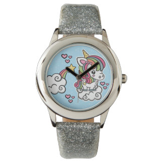 Cute Unicorn kids glitter watch