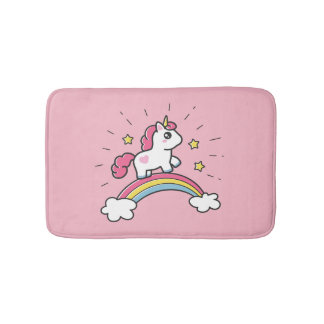 Cute Unicorn On A Rainbow Design Bath Mat