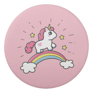 Cute Unicorn On A Rainbow Design Eraser