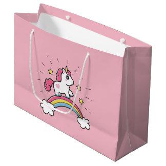 Cute Unicorn On A Rainbow Design Large Gift Bag