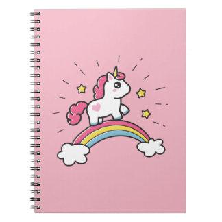 Cute Unicorn On A Rainbow Design Notebook