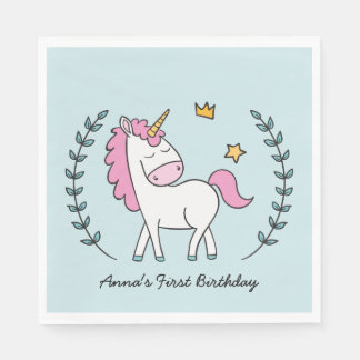 Cute Unicorn on Laurels. Birthday Disposable Napkin